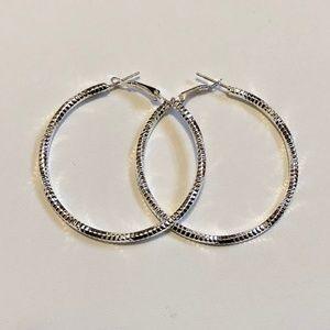"Gorgeous 2"" Sterling Silver Hoop Pierced Earrings"